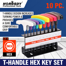 HORUSDY 10Pcs  PCS T HANDLE HEX KEY SET METRIC AND SAE ALLEN WRENCH 20 PC PCS T HANDLE HEX KEY SET METRIC AND SAE ALLEN WRENCH