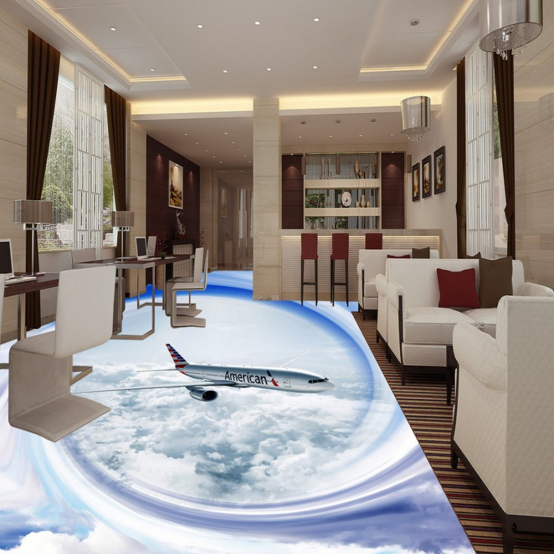 Free Shipping Sky plane 3D painting wallpaper cafe waterproof thicken lobby floor mural<br><br>Aliexpress