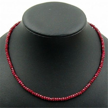Vintage Classic Natural Stone Jewelry Noble Deep Red Rubies Beaded Chain Choker Necklace 45 cm