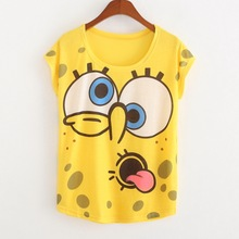 2017 Great Quality Summer Style Female Tops New Arrival Women's Short-sleeve Sponge Bob T-shirts Casual Cotton T Shirt Women
