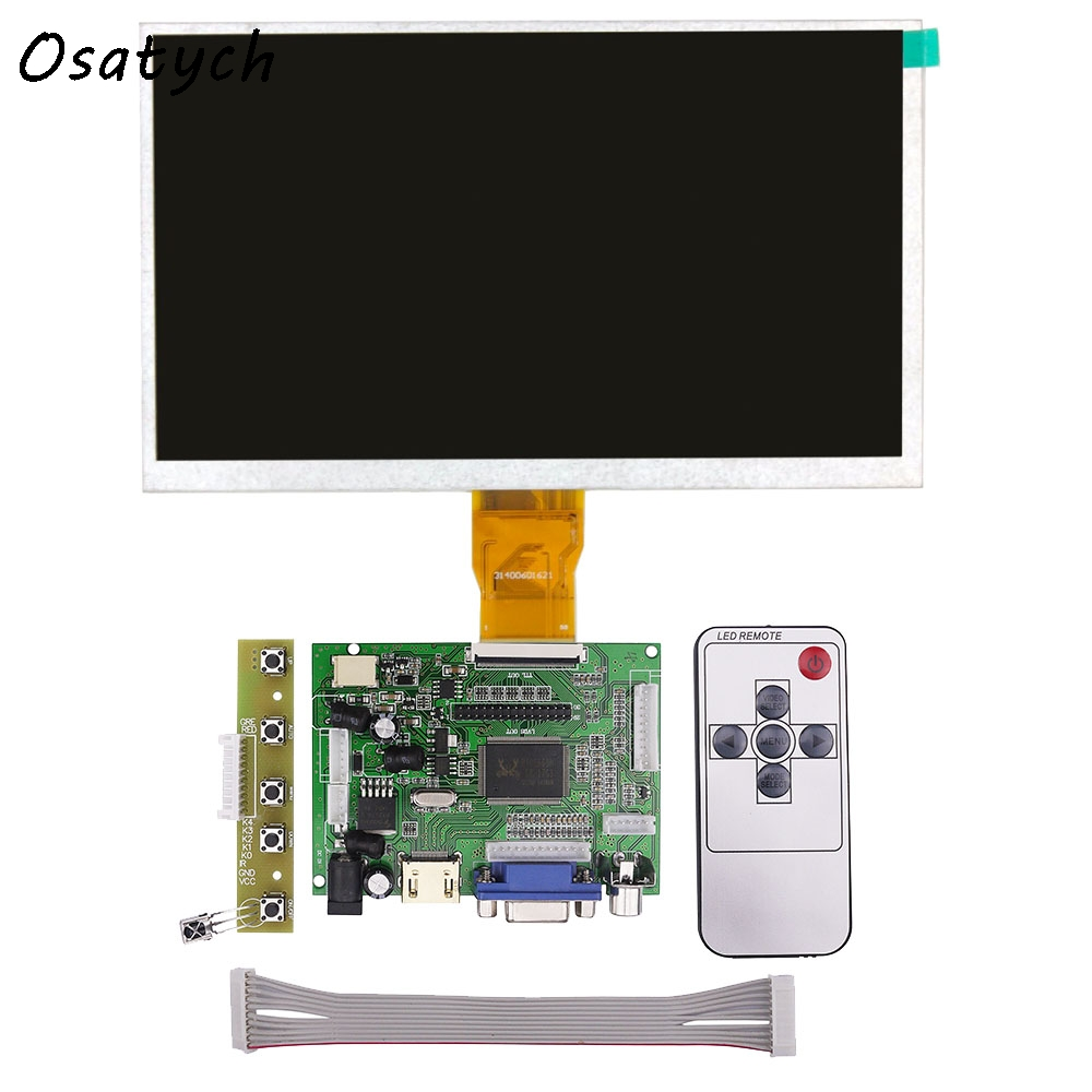 9 Inches for Raspberry Pi 3 LCD Display Screen Matrix TFT Monitor AT090TN12 with HDMI VGA AV Input Driver Board Controller<br>