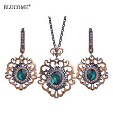 Blucome Luxurious Necklace Earrings Set Turkish Party Vintage Jewelry Sets For Women Turkey Costume Jewellery Colar Max Brincos