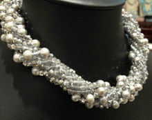 Grey Freshwater Pearl  Necklace Chokers Necklace Crystal Multilayer (also can for long necklace) Designer Pearl Necklace