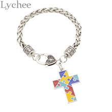 Lychee  Autism Awareness Bracelet Puzzle Piece Cross Charm Bracelet Jewelry for Men Women