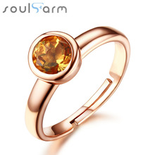 0.8ct Natural Citrine Ruby Rings for Women 18K Rose Gold Plated 925 Sterling Silver Jewelry Wedding Band Party Cocktail Rings