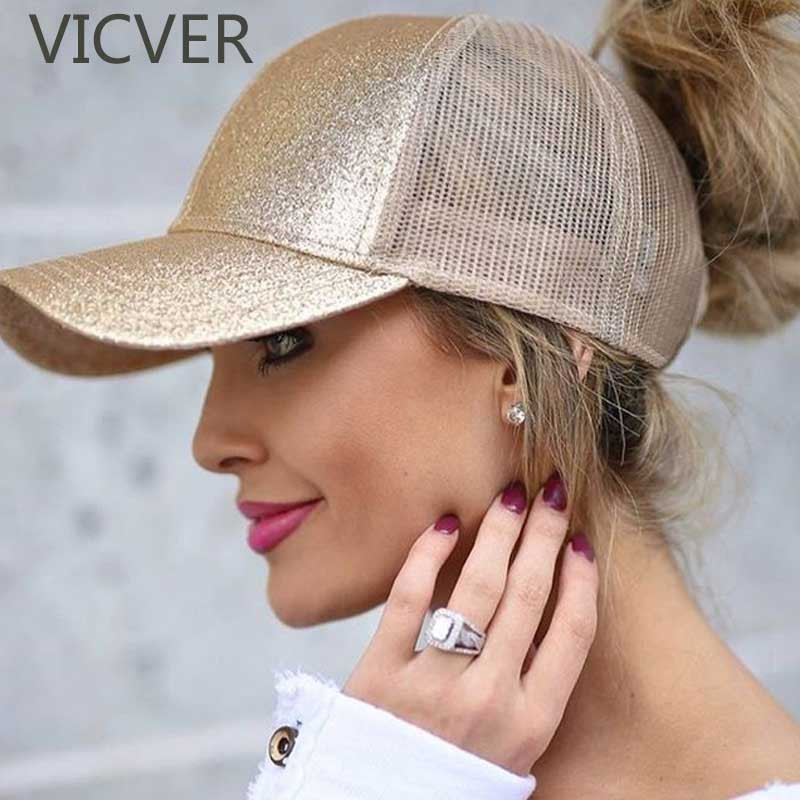 2018 Glitter Ponytail Baseball Cap Women Snapback Dad Hat Mesh Trucker Caps Messy Bun Summer Hat Female Adjustable Hip Hop Hats(China)