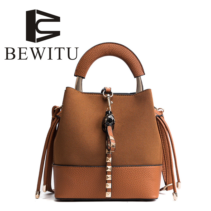BEWITU Bucket Mosaic Rivets PU Leather Retro Messenger Bag 2018 New Handbags Korean Version of The Wild Casual Shoulder Bag<br>