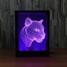 Fierce Leopard 3d Illusion Led Nightlight Baby Bedside Table Desk Lamp Usb Led Electronic Gadget Decorative Lighting Photo Frame(China)