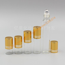 1ml/2ml/3ml/5ml/10ml clear Glass Bottle(long neck) With stainless roller+gold aluminum lid,roll-on/perfume/deodorant bottle