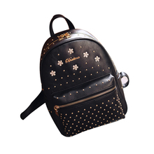 Brand Designer Women Rivet Diamond Backpacks Ladies Floral PU Leather Travel Shopping Backpacks Schoolbag