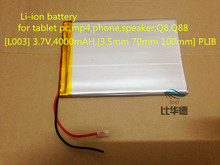 3.7V Li-ion battery for tablet pc,mp4 cell phone,speaker;Q8,Q88  3.7V,4000mAH,[3570100] PLIB (polymer lithium ion battery)