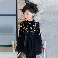 Retail 2016 New winter girls princess dress girl stars gauze dress with velvet bow sashes necklace 2 colors R3483
