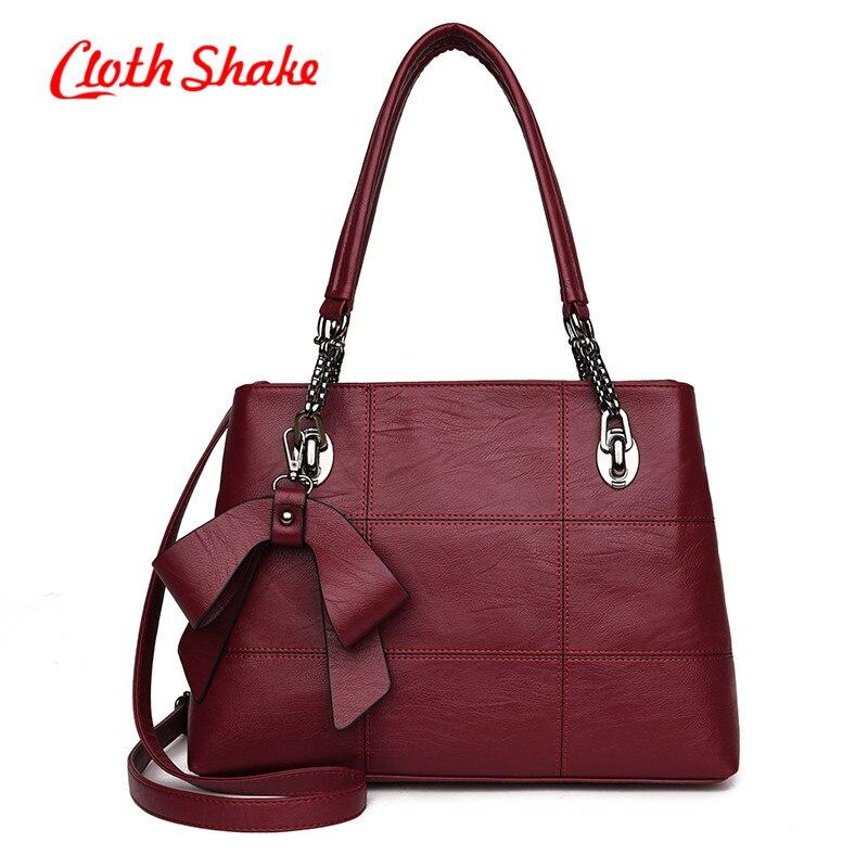 Newest PU Leather Handbag Women Purse Bow Tie Shopper Tote Luxury Design sac a main High Quality Vintage Fashion Shoulder Bag<br>