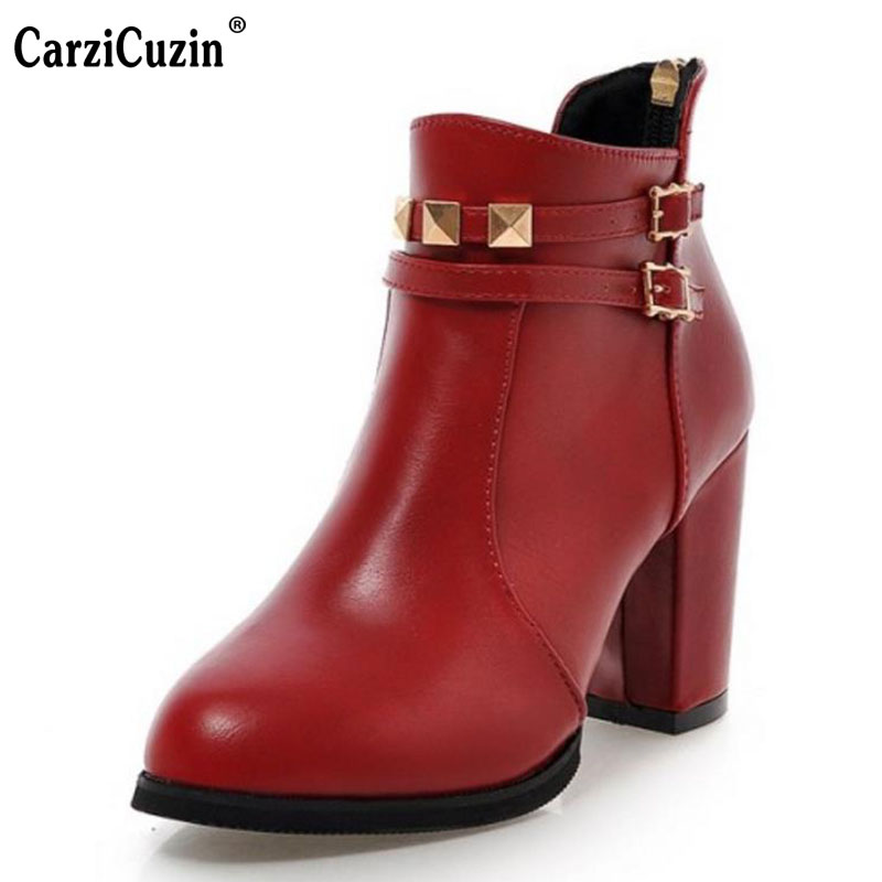 CarziCuzin Size 30-50 Women Boots Pointed Toe Thick High Laies Shoes Side Zipper Vintage Ankle Bootsmetal Decoration Footwear(China (Mainland))