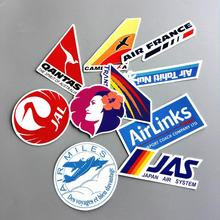 10pcs/Lot Airline Logo Pvc Waterproof Decal Sticker Fashion Trunk Luggage Carrier Laptop Brand Handbag Waterproof Stickers Toys(China)