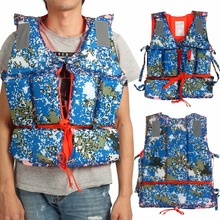Adult Blue Camouflage Boating Swimming Life Jacket Vest Polyester Floating Foam with Whistle Buoyancy Aid Life Vest(China)