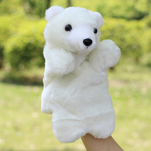 Free Shipping Cute Plush Velour Animals Hand Puppets Chic Designs Kid Child Learning Aid Polar Bear Toy