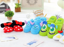Candice guo plush toy stuffed doll cartoon Monsters University Mike Minnie Donald Duck soft winter home floor slippers gift pair