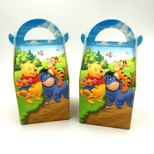 6pcs/lot winnie the pooh hand bags candy boxes kids birthday gift boxes Winnie pooh paper bags happy birthday party decoration