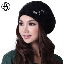 FS Winter Casual Women Knitted Beanies For Ladies With Pom Pom Hat Flowers Touca Hats Thickening Warm Caps Foldable Gorra