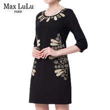 Max LuLu Casual Fashion Plus Size Brand Clothing 2017 Europe Autumn Office Dress Woman Sexy Slim Fit Print Black Dresses Women's