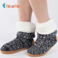 ToLaiToe Best Quality Warm Home Shoe Floor Soft Sole Long Boots Super Nubuck Leather Indoor House Shoes 3D Long Socks Many Style(China)