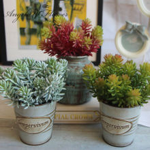 1pcs Artificial fleshiness Echeveria Succulent plant microlandschaft decorative flower home Balcony decoration 3 colors(China)