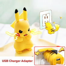 USB Pikachu Charger PM GO Pokedex Anime Figure Toys chargeur carregador cargador EU Plug  For Android Mobile Phone