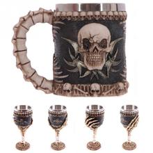 New Arrival Skull Bones Fiendish 3D Goblet Tankard Mug Drinking Coffee Beer Pirate Gothic Mugs