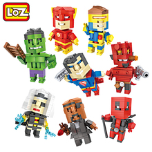 LOZ Deadpool Superman Hellboy Flash Cyclops Nick Mini Figure Model Building Blocks Cube Dude Toy For Age 6+ Offical Authorized(China)
