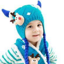 Children Winter Warm Knitting Hat + Scarf Set Baby Boys Girls Crochet Cover Ear Cap Xmas Deer Pattern