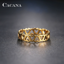 CACANA Stainless Steel Rings For Women Hollow Beautiful Pattern Fashion Jewelry Wholesale NO.R186 187