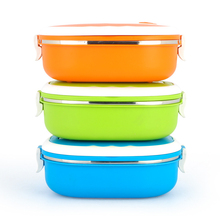 1 PC 2 Types 3 Colors Stainless Steel Thermal Insulated  Bento Staple Food Container Portable Bowl Dinner Container