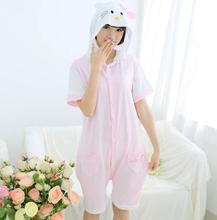 Spring and summer Cartoon animal Siamese pajamas Short sleeves Cotton lovely pajamas Pink KT Cat Home Girl type Batch service