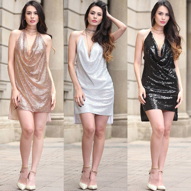 2017 New Backless Deep V Sequined Super Sexy Babies Luxury Metal Chocker Straps Hot Asymmetrical Night Club Party Mini Vestidos(China)