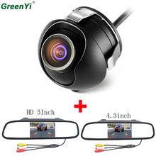 "GreenYi 5"" Car Rearview Mirror Monitor Rear View Camera TFT-CCD Video Auto Parking Kit 4 LED Night Vision Reversing Car-styling(China)"
