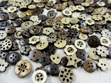 48pcs/lot 10-15mm Cute Coconut Buttons Assorted Sewing Accessories Wooden Buttons D13010001(10-15H48)