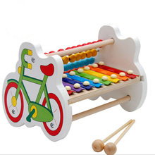Young children boys and girls puzzle music toys 6-8-10 months baby eight sound wood piano toys 1-2-3 years old(China)