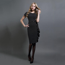 2017 Women Summer O-Neck Dot Print Elegant Party Casual Bodycon DresSkirt Short Sleeve With Zips Plus Size Vestidos Dres Skirt