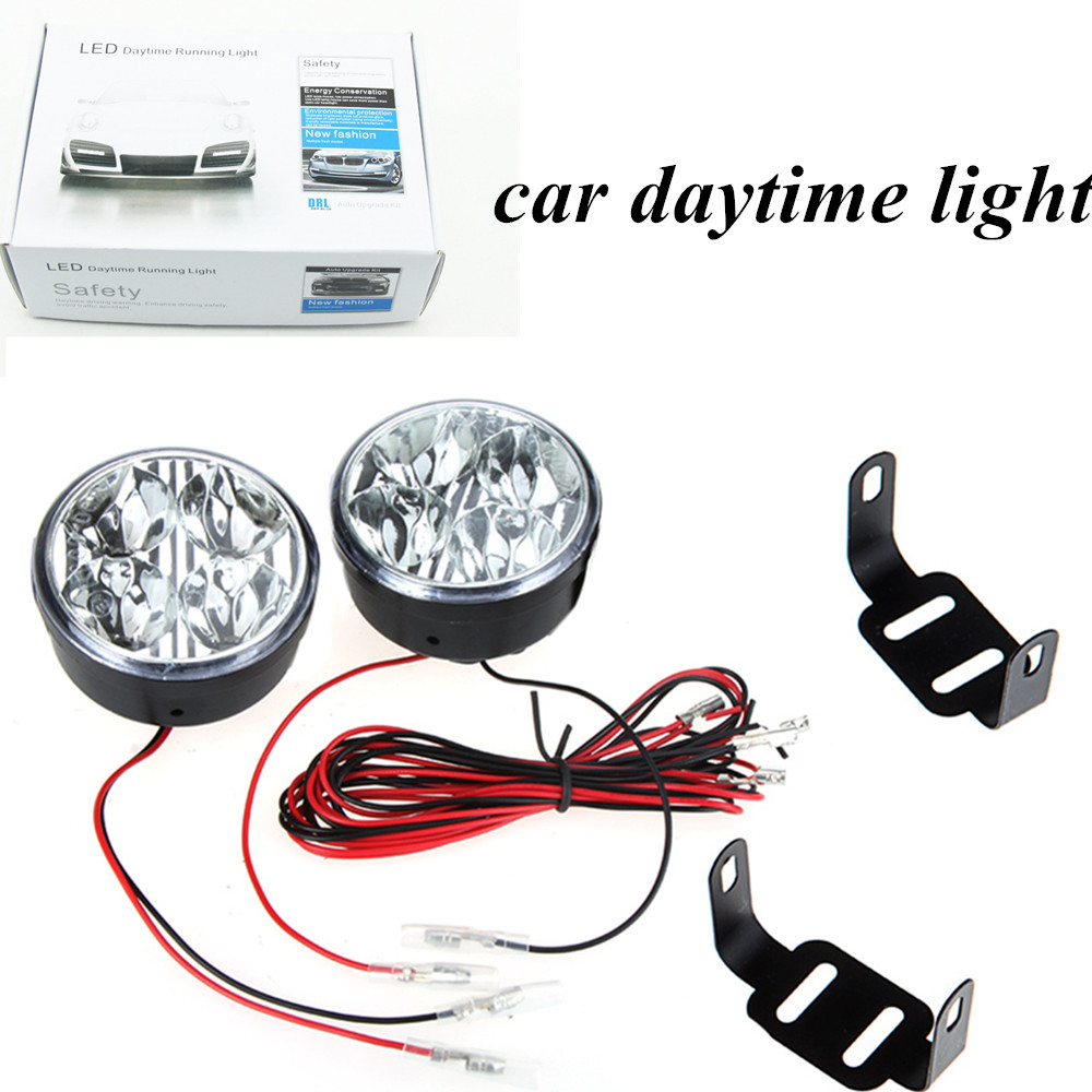 new arrival 2pcs/set  universal white 4 LED Round Daytime Running Light  high brightness  DRL car fog Day driving lamp<br><br>Aliexpress