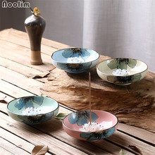 NOOLIM Creative Ceramic Lotus Incense Burner Holder Joss Stick Tibetan Incense Censer Aroma Sticks Aromatherapy Home Decor(China)