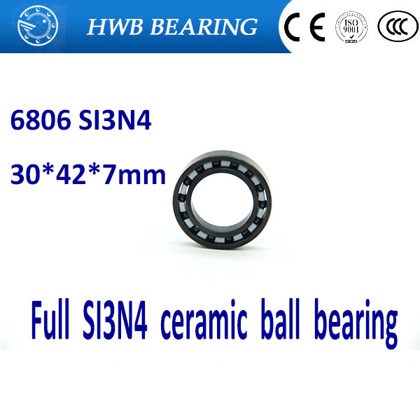 Free shipping 6806 full SI3N4 ceramic deep groove ball bearing 30x42x7mm 61806 full complement 6806RS<br>