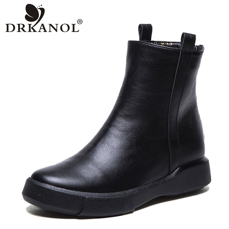 DRKANOL Vintage Flat Women Boots Autumn Winter Round Toe Back Zipper Winter Warm Waterproof Ankle Boots Women Platform Shoes
