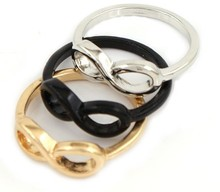 3 pcs/lot Promotions Cheap Fashion Hot Gold Silver Black Color Infinity Rings For Women, Infinity Symbel Ring