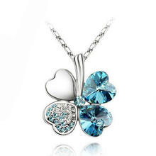 Promotion factory hotsell Austrian Silver Plated Crystal four Leaf Leaves Clover heart rhinestones necklace pendant jewelry