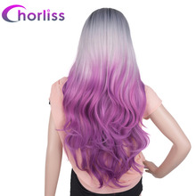 "Chorliss 24"" Long Wavy Women Synthetic Wigs None Lace Machine Made Ombre Wigs Purple China High Temperature Fiber 150% Density(China)"