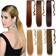 "24"" Long straight Ponytail Clip In Pony Tail Hair Extension Extensions Wrap on Hair Piece Straight Style Fake Ponytail Hair Pony"