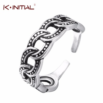 Kinitial 925 Sterling Silver Rope Link Chain Rings For Women Thai Silver Adjustable Hoop Chain Twisted Ring Fashion Jewelry
