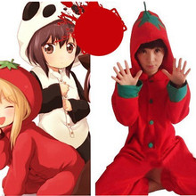 HKSNG Cheap DHL Girls Adult Winter Cartoon Red Tomato Pepper Kiguruma Footed Pyjamas Cheap Sale Onesie Cosplay Costume(China)