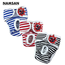 Namsan Girl Pet Physiological Pants Stripe Female Dog Diapers Menstrual Panties Diapers Outdoor Safety Underwear Nappy 3pcs/pack